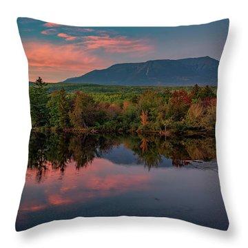 Autumn Dusk At Mount Katahdin Throw Pillow