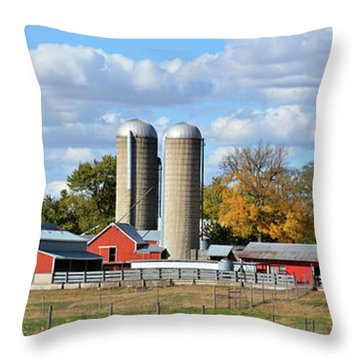 Autumn Elk Farm Throw Pillow by Bonfire Photography