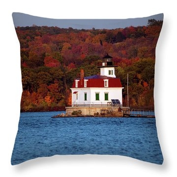 Autumn Evening At Esopus Lighthouse Throw Pillow by Jeff Severson