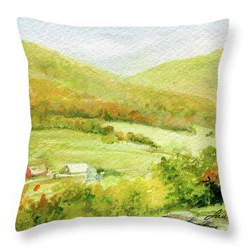 Autumn Farm In Vermont Throw Pillow
