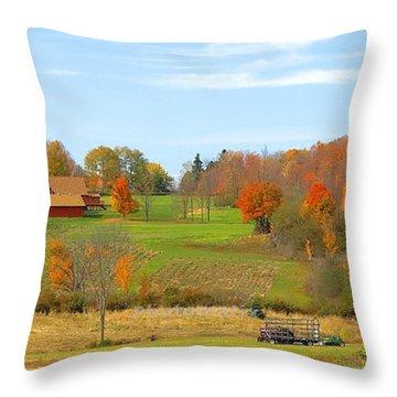 Autumn Farm Throw Pillow by Raymond Earley