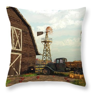 Autumn Farm Scene Throw Pillow