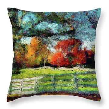 Autumn Field On The Farm Throw Pillow