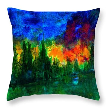 Throw Pillow featuring the painting Autumn Fires by Claire Bull