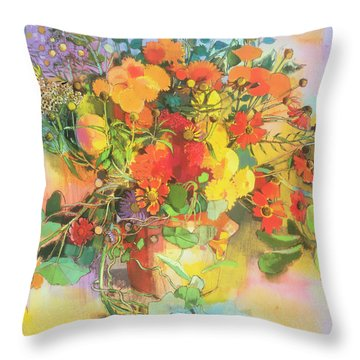 Autumn Flowers  Throw Pillow by Claire Spencer