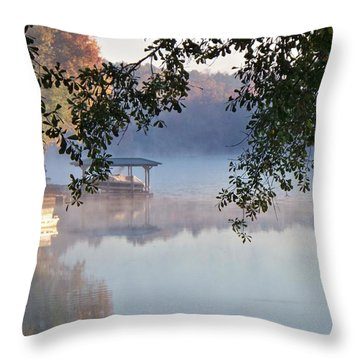 Throw Pillow featuring the photograph Autumn Fog by Betty Northcutt