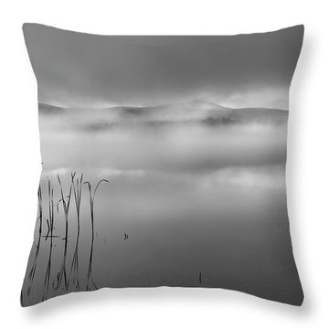 Throw Pillow featuring the photograph Autumn Fog Black And White by Bill Wakeley