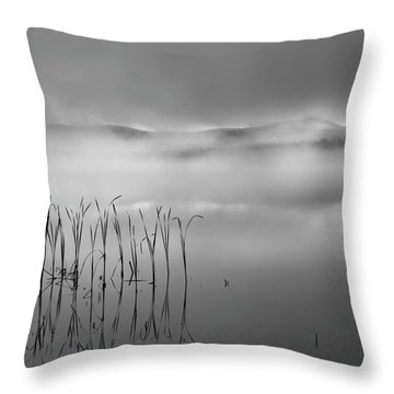 Throw Pillow featuring the photograph Autumn Fog Black And White Square by Bill Wakeley