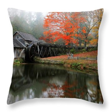Autumn Foggy Morning At Mabry Mill Virginia  Throw Pillow