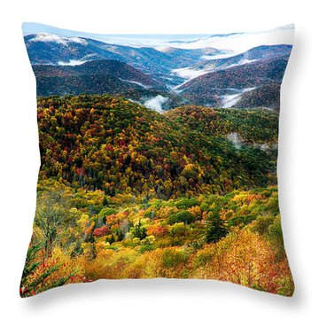Autumn Foliage On Blue Ridge Parkway Near Maggie Valley North Ca Throw Pillow