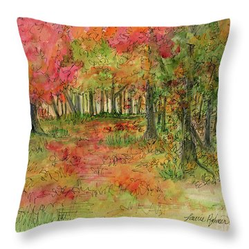 Autumn Forest Watercolor Illustration Throw Pillow