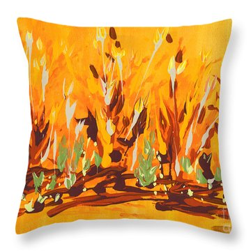 Throw Pillow featuring the painting Autumn Garden by Holly Carmichael