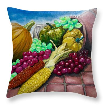 Throw Pillow featuring the painting Autumn by Geni Gorani