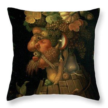 Autumn Throw Pillow by Giuseppe Arcimboldo