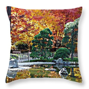 Autumn Glow In Manito Park Throw Pillow by Carol Groenen