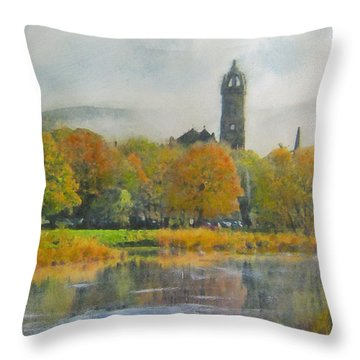 Autumn Glow Old Parish Church Peebles Throw Pillow