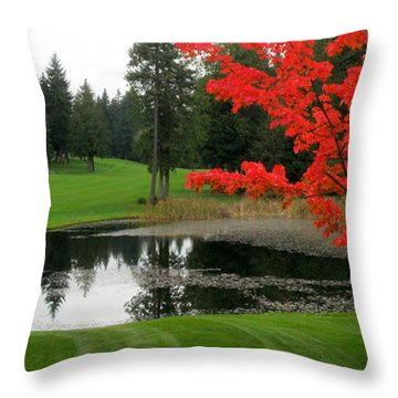 Throw Pillow featuring the glass art Autumn Golf Course by Tanya  Searcy