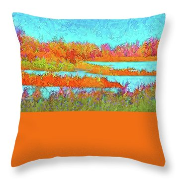 Throw Pillow featuring the digital art Autumn Grassy Meadow With Floating Lakes by Joel Bruce Wallach