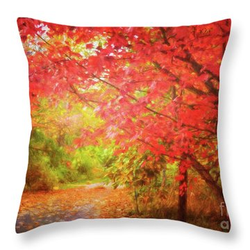 Glorious Foliage On The Rail Trail Throw Pillow