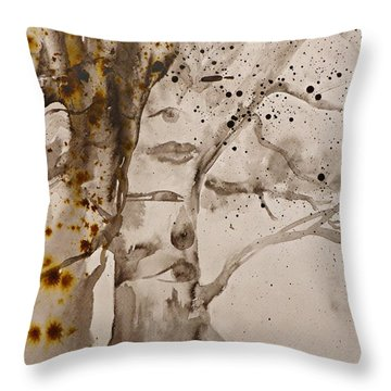 Throw Pillow featuring the painting Autumn Human Face Tree by AmaS Art
