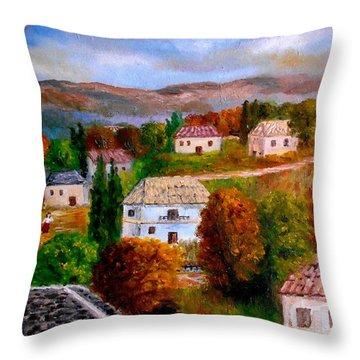 Autumn In Greece Throw Pillow