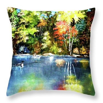 Autumn In Loon Country Throw Pillow by Al Brown