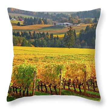 Autumn In Oregon Wine Country Throw Pillow