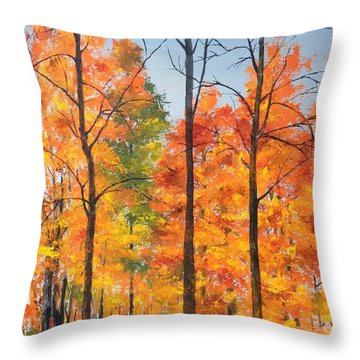 Autumn In South Wales Ny Throw Pillow by Ellen Canfield