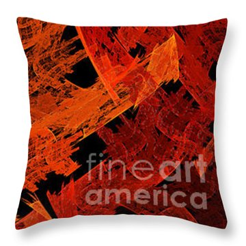 Throw Pillow featuring the digital art Autumn In Space Abstract Pano 1 by Andee Design