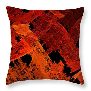 Throw Pillow featuring the digital art Autumn In Space Abstract Pano 2 by Andee Design
