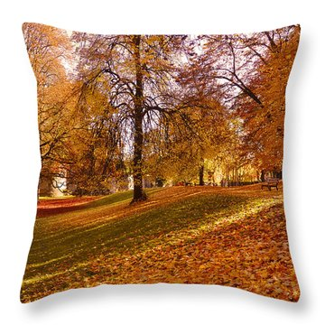 Autumn In The City Park Maastricht Throw Pillow