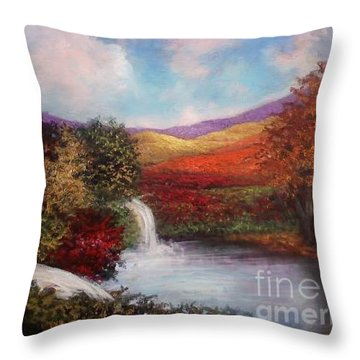 Throw Pillow featuring the painting Autumn In The Garden Of Eden by Randol Burns