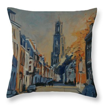Autumn In The Lange Nieuwstraat Utrecht Throw Pillow