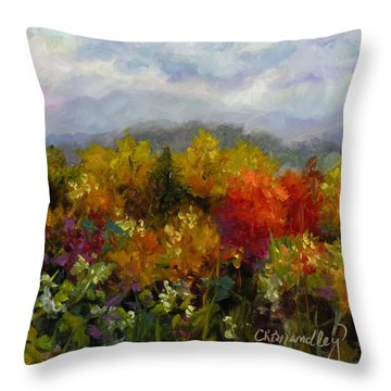 Throw Pillow featuring the painting Autumn Jewels by Chris Brandley