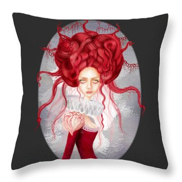 Throw Pillow featuring the drawing Autumn by Julia Art