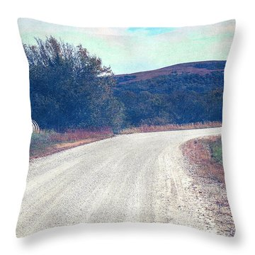 Throw Pillow featuring the photograph Autumn Kansas Countryside Road by Anna Louise