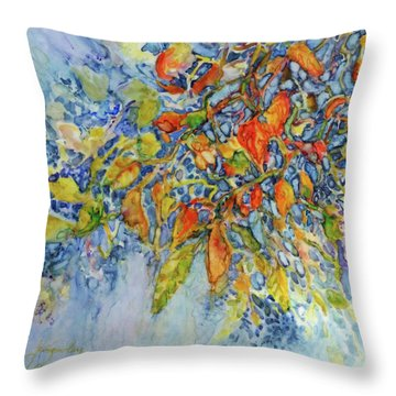 Throw Pillow featuring the painting Autumn Lace by Joanne Smoley