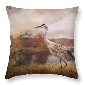 Autumn Lake Crane Throw Pillow