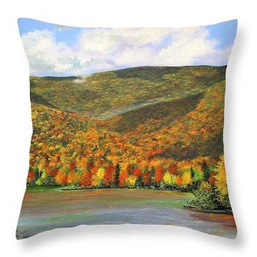 Throw Pillow featuring the painting Autumn Lake by Ken Ahlering