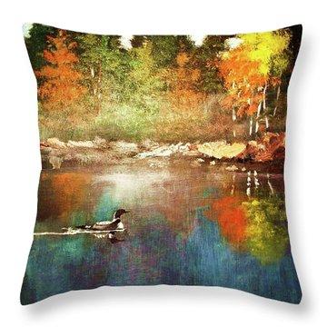 Autumn Lake Reflections Throw Pillow