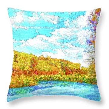 Autumn Lake Reflections - Park In Boulder County Colorado Throw Pillow