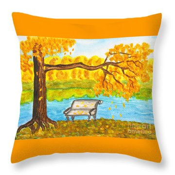 Autumn Landscape With Tree And Bench, Painting Throw Pillow