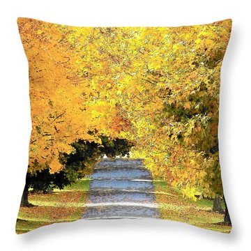 Autumn Lane Throw Pillow