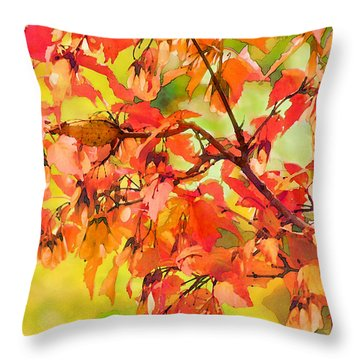 Throw Pillow featuring the digital art Autumn Leaves by Christina Lihani