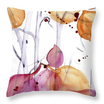Throw Pillow featuring the painting Autumn Leaves by Dawn Derman