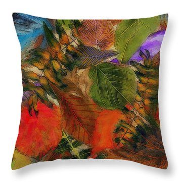 Throw Pillow featuring the digital art Autumn Leaves by Klara Acel