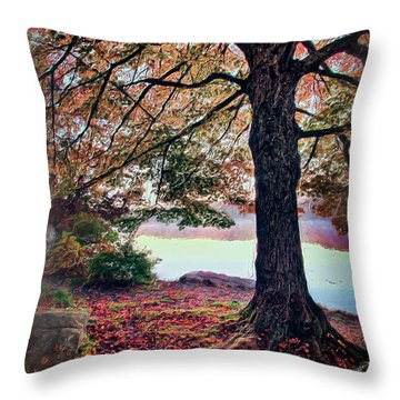 Throw Pillow featuring the painting Autumn Leaves On The Blue Ridge Parkway Ap by Dan Carmichael