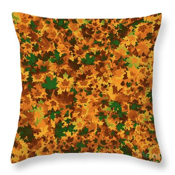 Throw Pillow featuring the digital art Autumn Leaves Pattern by Methune Hively
