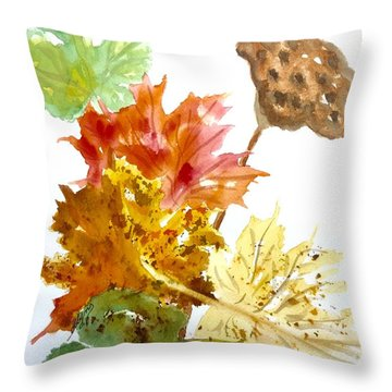 Autumn Leaves Still Life Throw Pillow