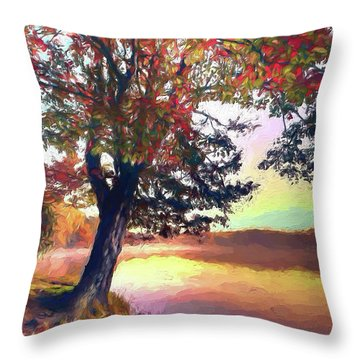 Throw Pillow featuring the painting Autumn Leaves Tree At Blue Ridge Lake Ap by Dan Carmichael